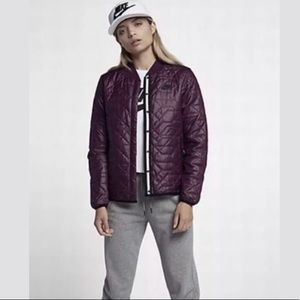 Nike quilted bomber jacket, wine color